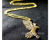 Bronze Eagle Pendant Necklace with Synthetic Ruby