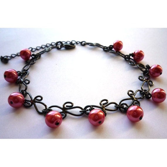 Gothic Black Chain Bracelet with Hot Pink Glass Pearls CLEARANCE