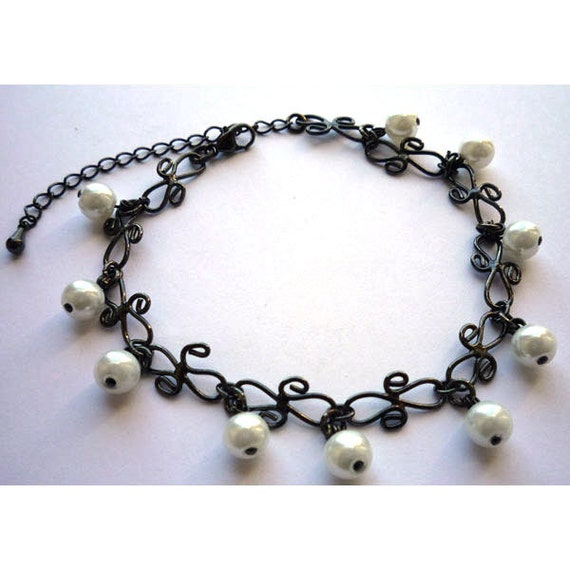 Gothic Black Chain Bracelet with White Glass Pearls CLEARANCE