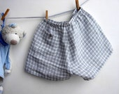Children shorts 100% linen. Checked grey and white. Size 18-24 months.  Ready to ship. - robedellarobi