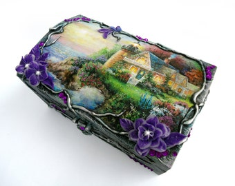 Jewelry box, Lighthouse box, Trinket box, Silver box, Polymer clay flowers, Landscape, Crystals