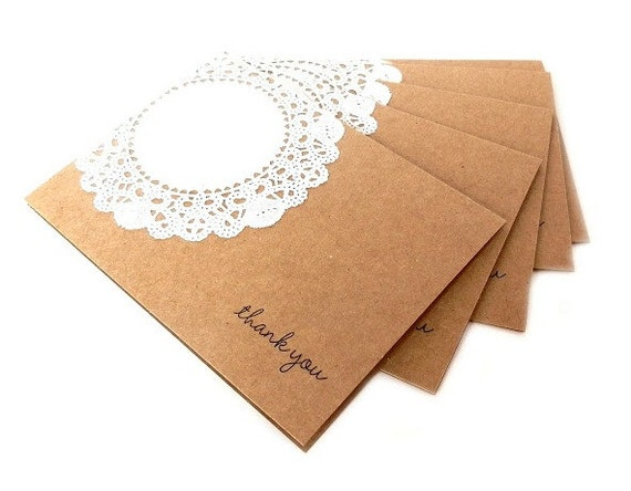 Kraft Paper Lace Greeting Cards (Set of 5) - Thank You Card Set, Wedding Handmade Greeting Cards