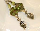 Mojito earrings, Green earrings, Peridot green czech glass dangle earrings