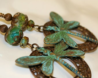 Teton Summer Earrings, Green earrings, Verdigris dangle earrings, Vintaj jewelry, Patina jewelry