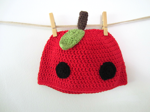 Yum Yum Red Ripe Apple- Cute Kawaii Red Apple Fruit Crocheted Hat Beanie, Ready to Ship