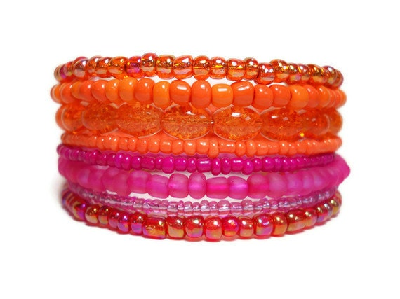 Memory Wire Bracelet Neon Pink and Orange Color Block Stacked Beaded Wrap