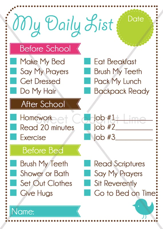 kid u0026 39 s editable daily list and chore chart instant download