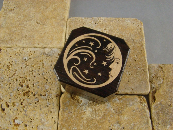 Ring Box of Wenge with Lady Moon inlay, a poem and Free Shipping and Engraving. RB26