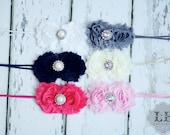 Shabby Chiffon Rosettes with Rhinestone or Pearl Middle on Thin Elastic Headband (White, Black, Hot Pink, Gray, Cream, Baby Pink)