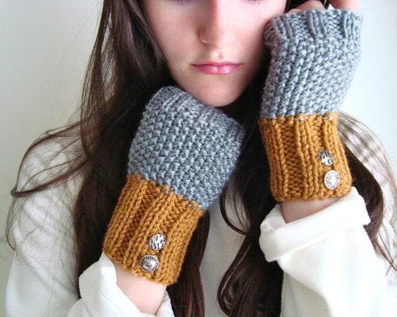Silver & Gold Autumn Mittens Fingerless Gloves, Vintage Buttons, Grey and Butterscotch