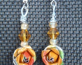 Mango Upcycled Soda Can Rose Earrings - JnzAlteredArt