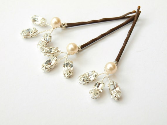 Sale Brown only available Hair Pins Crystal Rhinestones Ivory Pearl Silver Bridal Accessories Bridesmaid Headdress Set of Three Floral Sprig