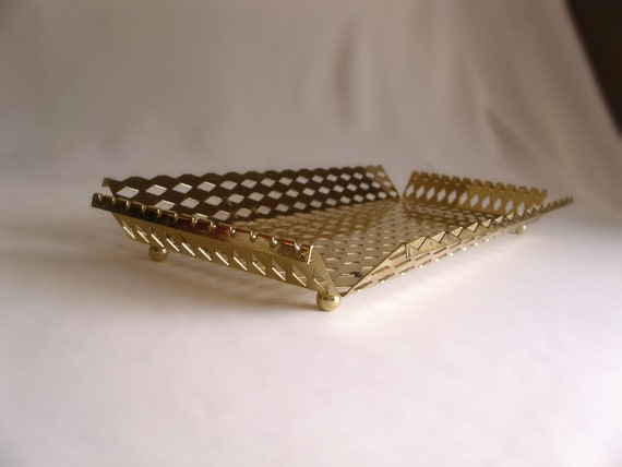 Vintage Gold Mail Tray- Diamond Cut Metal Tray