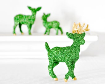 Green Deer Wedding Table Decoration Woodland Metallic Gold Glittered Christmas Party Centerpiece Entertaining Birthday Party Table Settings
