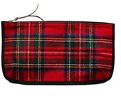 Red Plaid Clutch - Hand Crafted from Salvaged Fabrics
