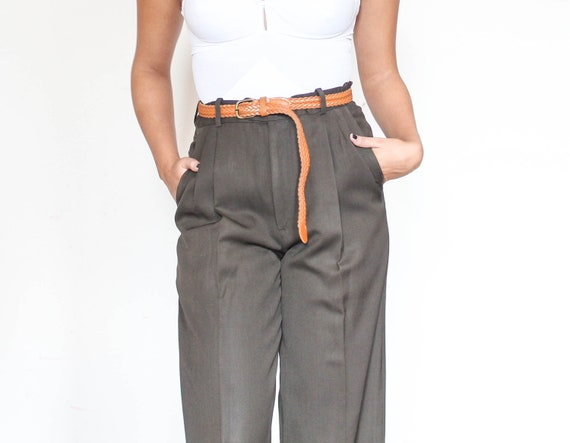 high waisted wool chocolate brown cuffed trousers m