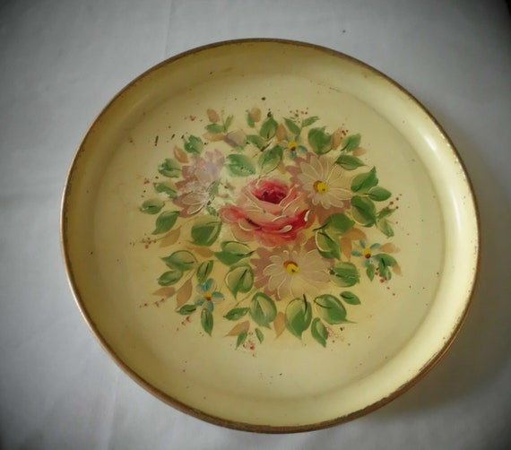 Reserved for Shelly TOLE-WARE Hand painted TRAY circa 1950