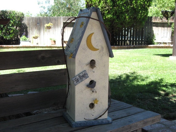 Bird House For Rent Wood Blue Speckled Lt Ivory Bird Star and Moon Wood Accents Home Decor Woodworking Decorative