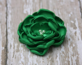34 Colors Small Satin Flower Hair Clip, Green Flower Hair Clip