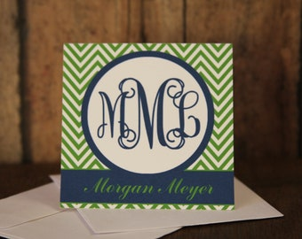 Monogrammed Green Chevron and Navy Gift Enclosure Cards with Envelopes