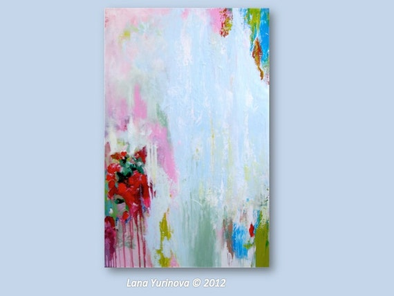 Art Abstract Original Painting Pink, Red, Chartreuse, Teal Accents - Large Contemporary Painting on Canvas