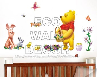 PEEL and STICK Removable Vinyl Wall Sticker Mural Decal Art - Winnie the Pooh and Piglet Picking Flowers (2 Pages)