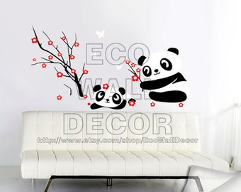 PEEL and STICK Removable Vinyl Wall Sticker Mural Decal Art - Panda and Red Plum Blossom