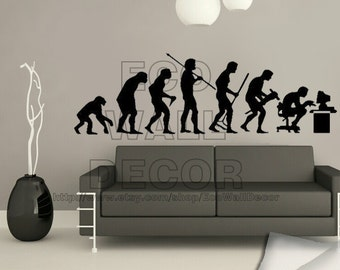 PEEL and STICK Removable Vinyl Wall Sticker Mural Decal Art - Unique Ape - Evolution of Man Decal