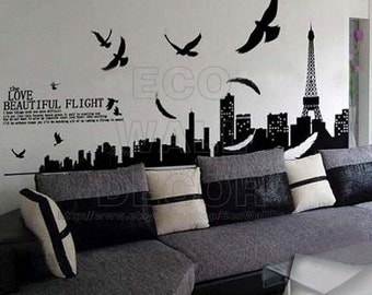 PEEL and STICK Removable Vinyl Wall Sticker Mural Decal Art -  Beautiful Love - Paris Architecture Landscape Shadow (Part I)
