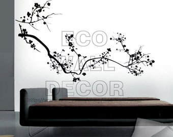PEEL and STICK Kids Nursery Removable Vinyl Wall Sticker Mural Decal Art - Black Cherry Blossom Hanging