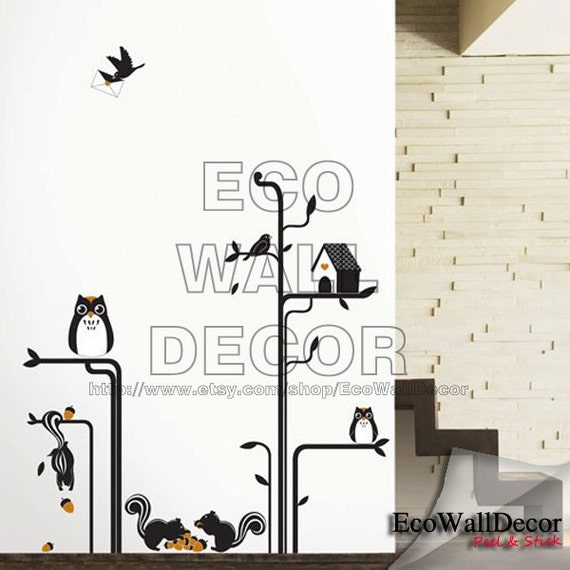 PEEL and STICK Kids Nursery Removable Vinyl Wall Sticker Mural Decal Art -  Owl and Squirrel and Tree
