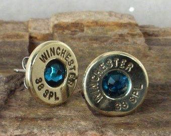 Bullet Earrings - Ultra Thin - Blue Zircon - December Birthstone