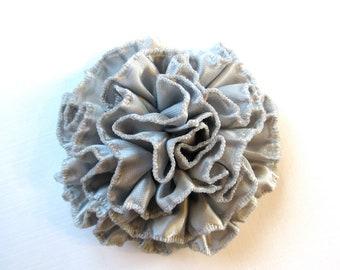 Silver Satin Flower Pin - Metallic Hair Flower