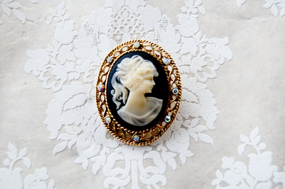 vintage antique cameo brooch for wedding bouquet, bridal, something old