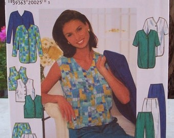 Simplicity 7503 Pattern  Jacket, Top and Pants or Shorts Pattern  Dated 1997 Plus Size 20, 22, 24