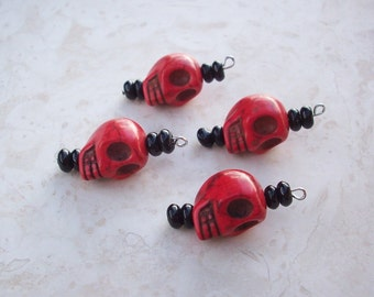 Red Skulls  ~  Red Dia De Los Muertos (Day of The Dead) Howlite Large Skull Bead Dangle, Charm, DIY Earrings 4 Pieces