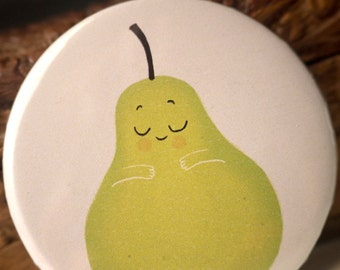 Pear mini mirror // Girls pocket mirror // Mini illustrated mirror