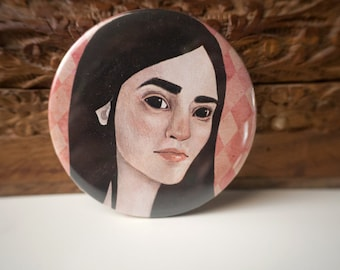Obsidian mini mirror // Illustrated mini mirror // Girls pocket mirror // illustration