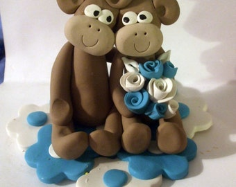 Wedding cake topper Monkey cake topper in custom colors, your choice, Polymer Clay  2016