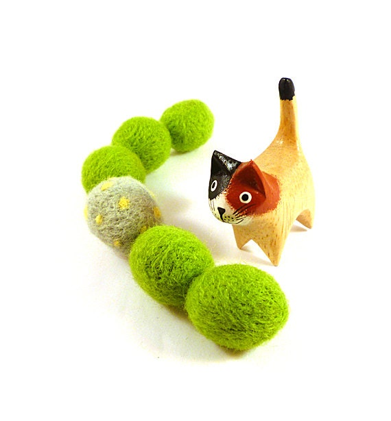 Lime Green Cyanobacteria Algae Wool Felt Catnip Cat Toy