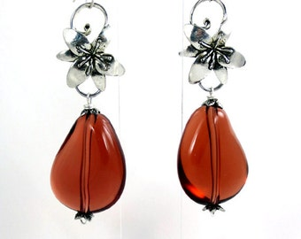 Dangle amber silver long earrings. Light Weighted.  Sterling silver ear wire, Designed in Fashion Brand Faina studio.
