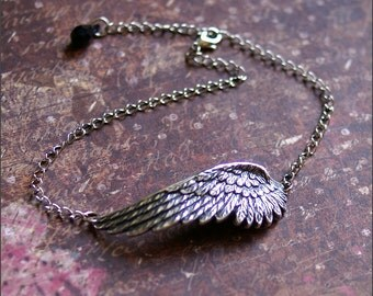 Silver Wing ANKLET- Angel Wing Pendant Ankle Bracelet- GORGEOUS Detailed Silver Wing Jewelry, Perfect Gift Mother, Friend, Sister -ETERNITY