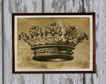 Antique crown art print Old looking Antiqued paper AK326