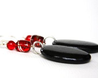 Black Wood Earring, Long Wood Dangle, Glass Bead Earrings, Light Weight Wood Earrings, Made in USA, Reclaimed Wood Bead
