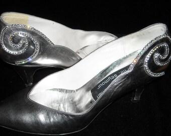 Vintage Stuart Weitzman for Mr. Seymour Silver Pewter Rhinestone Heels
