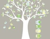 Kids tree decal - vinyl wall decal -  owl tree -  pattern leaves with 5 FREE owls