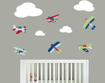 Plane decals - Nursery decals - Wall decal - Clouds and plane set - vinyl decal - Airplane decal