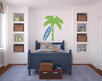 kids palm tree and surfboard  Removable vinyl wall decal nursery sticker mural