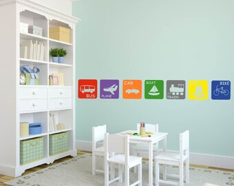 children's decals - Modern TRANSPORTATION squares -  vinyl wall decal -  boat car plane bike and more