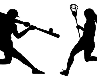 Kids vinyl wall decal set of 4 football baseball lacrosse player and pitcher we can do any color any size